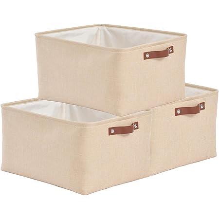 SOCOHOME Lot de 3 Paniers de Rangement, Boîte de Rangement pliable avec poignée, Caisse de Rangement en Tissu pour Vêtements, Livres, Jouets, Maison (Beige, Large)