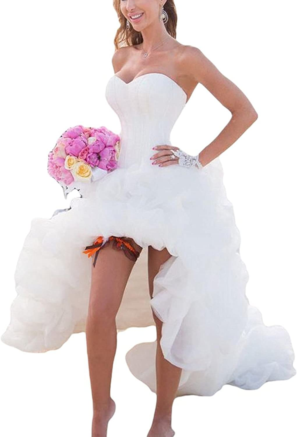 Aries Tuttle White Ivory High Low Beach Wedding Dress Bridal Gown US Size 2 4 +