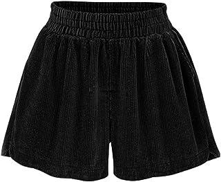 Womens Casual Corduroy Shorts High-Waisted Shorts Loose Hot Pants