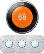 Nest Learning Thermostat - 3rd Generation w/ 3-Pack Nest Protect Smoke and CO Alarm, Battery (Stainless Steel)