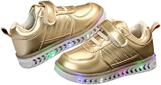 Hopscotch LCL - Walktrendy Boys and Girls Faux Leather Led Strap Sneaker in Gold Color