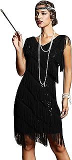 PrettyGuide Women's 1920s Dresses Inspired Fringe Flapper Dress Sequin Art Deco Cocktail Dress S/US8 Black