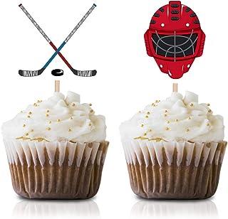 Hockey Cupcake Topper Picks, 24-Pack hockey sports Baby Shower Birthday Party Supply Decorations