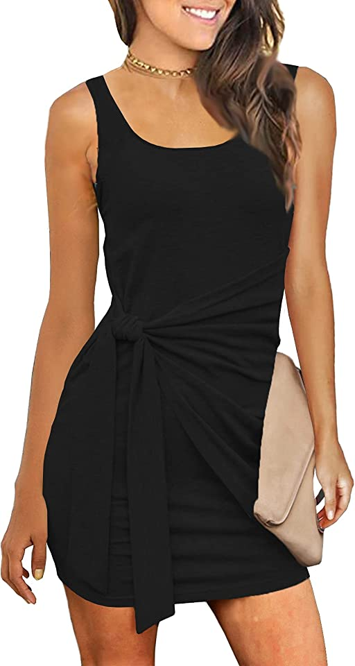 Zalalus Women's Summer Casual T Shirt Dresses Sleeveless Bodycon Ruched Tie Waist Mini Sundress