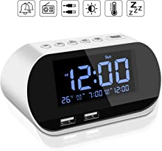 Alarm Clock Radio,Dual USB Ports for Charging,Dual Alarms, Digit Display with Dimmer,Snooze for Heavy Sleepers,Bedrooms,Outlet Powered Plus Battery Backup (White)