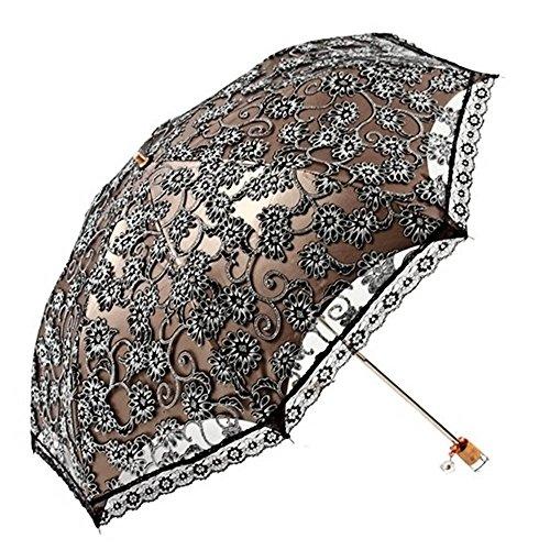 Beetest Sonnenschutz Regenschirm Sonnenschirm mit Aufbewahrungstasche,Damen,Anti UV,Tragbar Falten,Lace,Eleganz,Schwarz