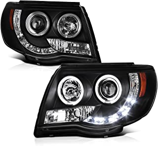 [For 2005-2011 Toyota Tacoma Pickup Truck] LED Halo Ring Black Projector Headlight Headlamp Assembly, Driver & Passenger Side