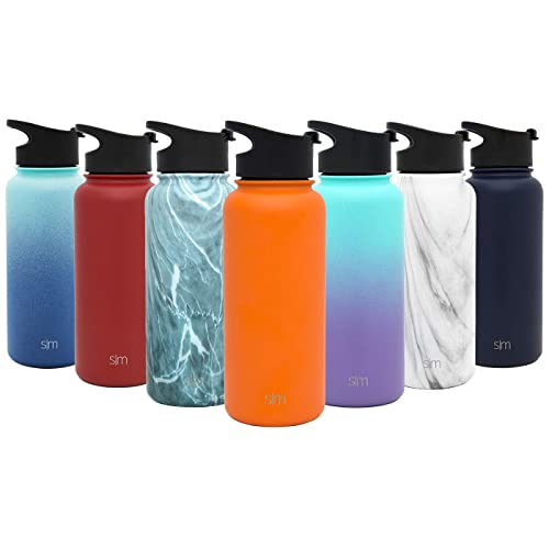5a635dd90d Simple Modern Summit Water Bottle + Extra Lid - Wide Mouth Vacuum Insulated  18/8
