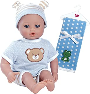 Adora PlayTime Beary Blue Washable Soft Cuddly Body Play Baby Doll with Polka Dot Fleece Blanket Bundle, 13