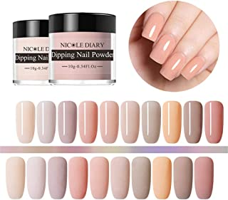 NICOLE DIARY Acrylic Dipping Nail Powder Nude Colors Nail Dip Fine Glitter Without Lamp Cure French Tips Natural Dry Manicure Decoration(10 Colors)