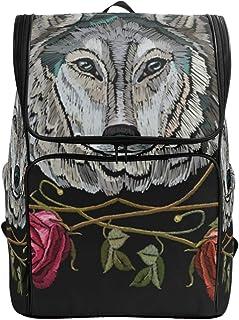 Mochila escolar unisex Ahomy con alas de lobo y rosas con compartimento grande para la universidad y la escuela, mochila de trabajo para hombres/mujeres