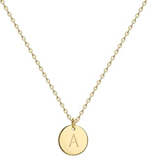 Befettly Initial Necklace,14K Gold-Plated Children Necklace Round Disc Double Side Engraved Hammered Name Necklace 16.5'' Adjustable Personalized Alphabet Letter Pendant