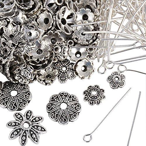 200pz 26mm Chiodini Spille + 200pz Coppette Copriperla Perline per Gioielli Fai Da Te Orecchini Collana Bracciali Kumihimo Monili Ciondoli Perle Perlina