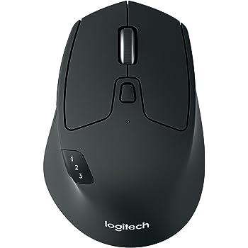 Logitech M720 Triathlon Kabellose Maus, Bluetooth & 2.4 GHz Verbindung via Unifying USB-Empfänger, 1000 DPI Sensor, 24-Monate Akkulaufzeit, Multi-Device, 8 Tasten, PC/Mac/iPadOS - Englische Verpackung