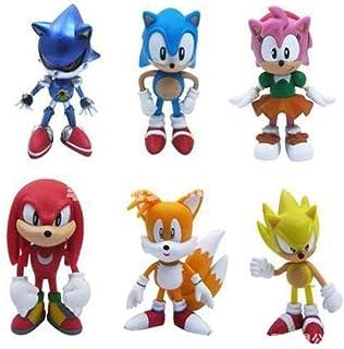 BCKAKQA Anime 6 Pcs The Hedgehog Sega Super Sonic Action Knuckles Figuras coleccionables PVC Sonic Shadow Tails Animales Estatua Escritorio Decoración Coche 6cm-OPP Bolsa