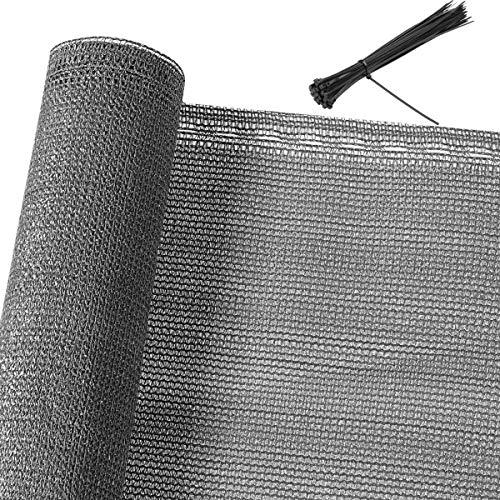 Detex Clôture de 1,2 m de Haut - Anthracite - 10 m - 85% d'ombre - pour Balcon - Brise-Vue - Filet d'ombrage Gris