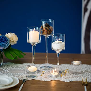 NUPTIO 3 Pcs Candlestick & Tealight Candle Holders, Tall Elegant Glass Stylish Design, Ideal for Weddings, Home Decor, Pa