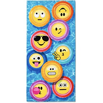 Emoji Large Hand Towel Quick Drying LET/'S GO logo Brand New Blue