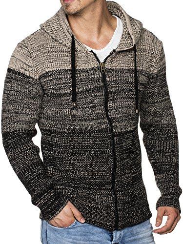 Tazzio 16485 – Chaqueta de punto para hombre con patrón mezclado negro M