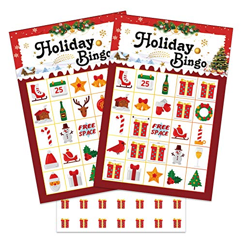 WaaHome Holiday Winter Christmas Bingo Game for Kids Families, 26 Bingo Cards for Christmas Holiday Party Games School Classroom Activities Christmas Crafts Party Favors Supplies