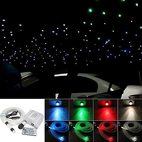 Kingmaled Kit plafonnier 10W RGBW lumière scintillante , fibre optique, étoiles LED moteur + télécomhommede RF à 28touches + cables, blanc, 150pcs0.03in6.5ft(voiture plug) 12.00volts