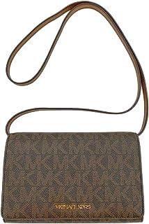 Michael Kors PVC MK Signature Logo Large Flap Crossbody Clutch in Brown