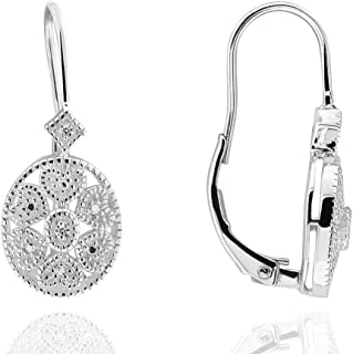 925 Sterling Silver Round Diamond Accent Filigree Leverback Earrings