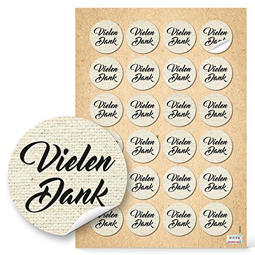 96 Stück runde beige natur braun vintage VIELEN DANK Aufkleber Nostalgie Dankeschön selbstklebende Sticker Etiketten - Verpackung Geschenk Präsent give-away Mitgebsel Gastgeschenke Dankeschön