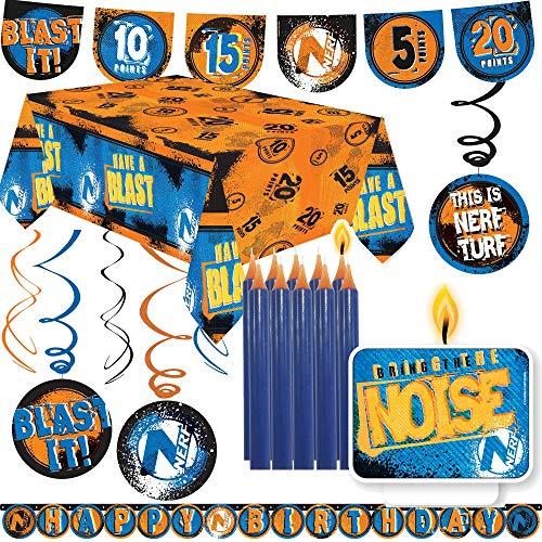 45-TLG. Dekoset * NERF * für Motto-Party und Kindergeburtstag | mit Tischdecke + Wimpelkette + Girlande + Dekowirbel + Kerze + Luftballons | Deko Dekoration Set Mottoparty Hasbro N-Strike Elite