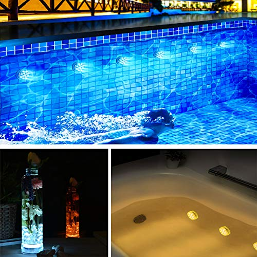LOFTEK Submersible LED Lights with Suction Cups, Remote (RF), Extra Bright 13 LED Color Changing Waterproof Light Bathtub Lights for Pool, Pond, Hot Tub, Foundation,Party, Even (2 Packs)