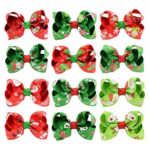 Miaoo barrettes de Noël pour petite fille, clip avec nœud en gros-grain, 12 pcs