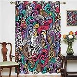 Doodle - Cortina para puerta corredera, diseño de música con instrumentos abstractos, teclado Stradivarius, panel individual de 132 x 160 cm, para dormitorio multicolor