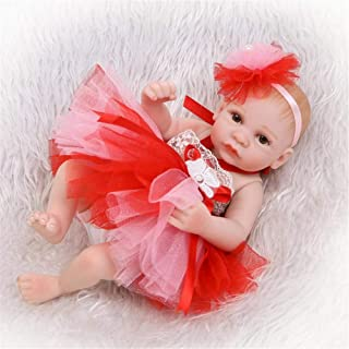 JUNMAO 11 Inch Mini Lifelike Reborn Baby Doll Tutu Skirt Princess Girl Reallike Soft Silicone Vinyl Full Body Eyes Open Newborn Baby Doll Outfits, Toddler Kids Gift for Ages 3+ (Red, 27CM/11'')