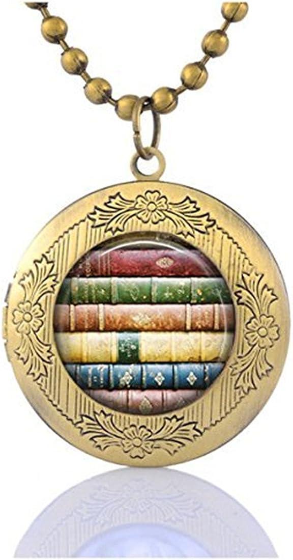 CUZSTX1OM1 Book Stack Locket Necklace Library Gifts Locket Necklace Book Book Locket Jewelry