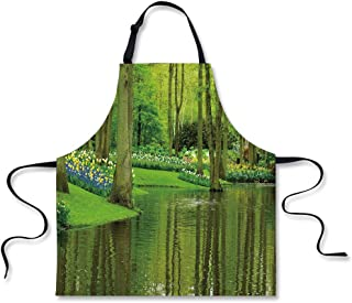 """iPrint Custom Apron,Nature,Forest with Lake Dutch Garden Pastoral Woodland Botany Flowerbed Picture Decorative,Fern and Lime Green,Home Apron.29.5""""x26.3"""""""