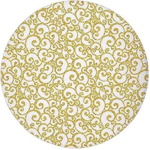 Runder Teppich Matte Teppich, Gold und Weiß, Blumen Efeu wirbelt wie Runden Old Victorian Time Inspired Art Print, Gelb und Whiteoo