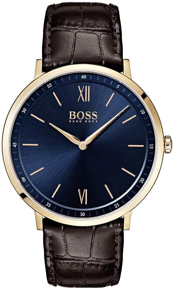 Hugo boss, orologio analogicoal quarzo per uomo, con cinturino in pelle e cassa in acciaio inossidabile 1513661