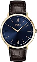 BOSS Essential Ultra Slim, Quartz Rose Gold and Leather Strap Casual Watch, Brown, Men, 1513661