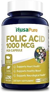 Folic Acid 1000mcg 200 Veggie Caps (Non-GMO, Vegetarian & Gluten Free) Supports Cardiovascular Health, Prenatal Developmen...