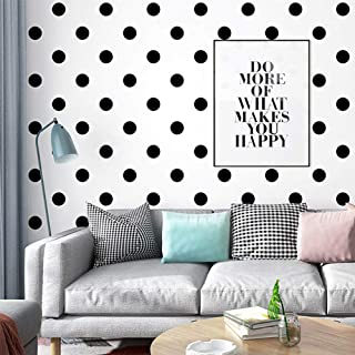 White and Black Spot Modern Geometric Wallpaper, Removable and Waterproof for Home Design and Room Wallpape...