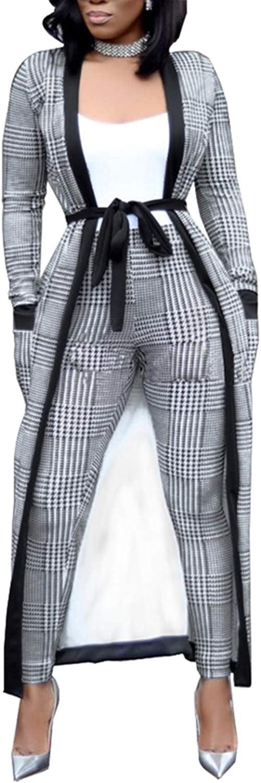 Womens 2 Piece Print Outfits Clubwear Long Sleeve Open Cardigan Pants Set