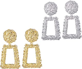 Golden/Silver Raised Design Statement Earrings Fashion Jewelry KELMALL COLLECTION
