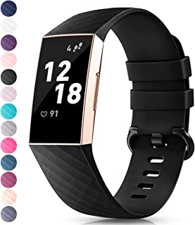 TreasureMax with Fitbit Charge 3 Bands for Women Men,Adjustable Soft Silicone Sports Replacement Fitbit Charge 3 SE Bands,Small/Large
