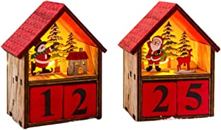 Amosfun 2pcs Christmas Wooden Advent Calendar with LED Lights Santa Claus Snowman Decoration Christmas Table Decoration