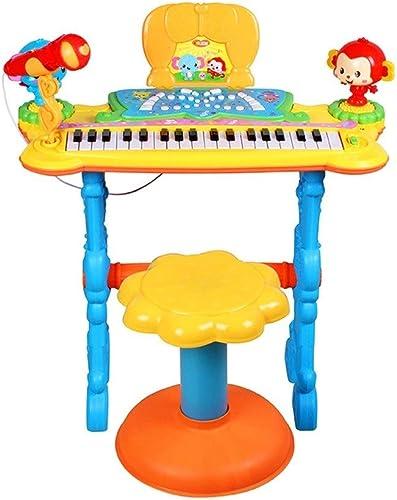 HXGL-Tastatur Kinder elektronisches Klavier Spielzeug Musik Klavier Früherziehung Puzzle 3-6 Jahre alt nettes elektrisches Spielzeug mit Mikrofon Anf er (Farbe   Blau)