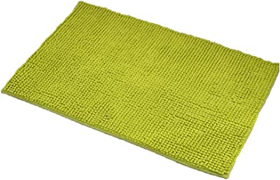 AMICA Chenille Bathroom Rug Mat Non Slip Bathroom Mat Door Mat,Thick Durable Non Slip Bath Room Rectangle Soft Absorbent-Green 140x70cm(55x28inch)