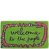 Laroom Felpudo diseño Welcome To The Jungle, Jute & Base Antideslizante, Verde, 40x70x1.8 cm