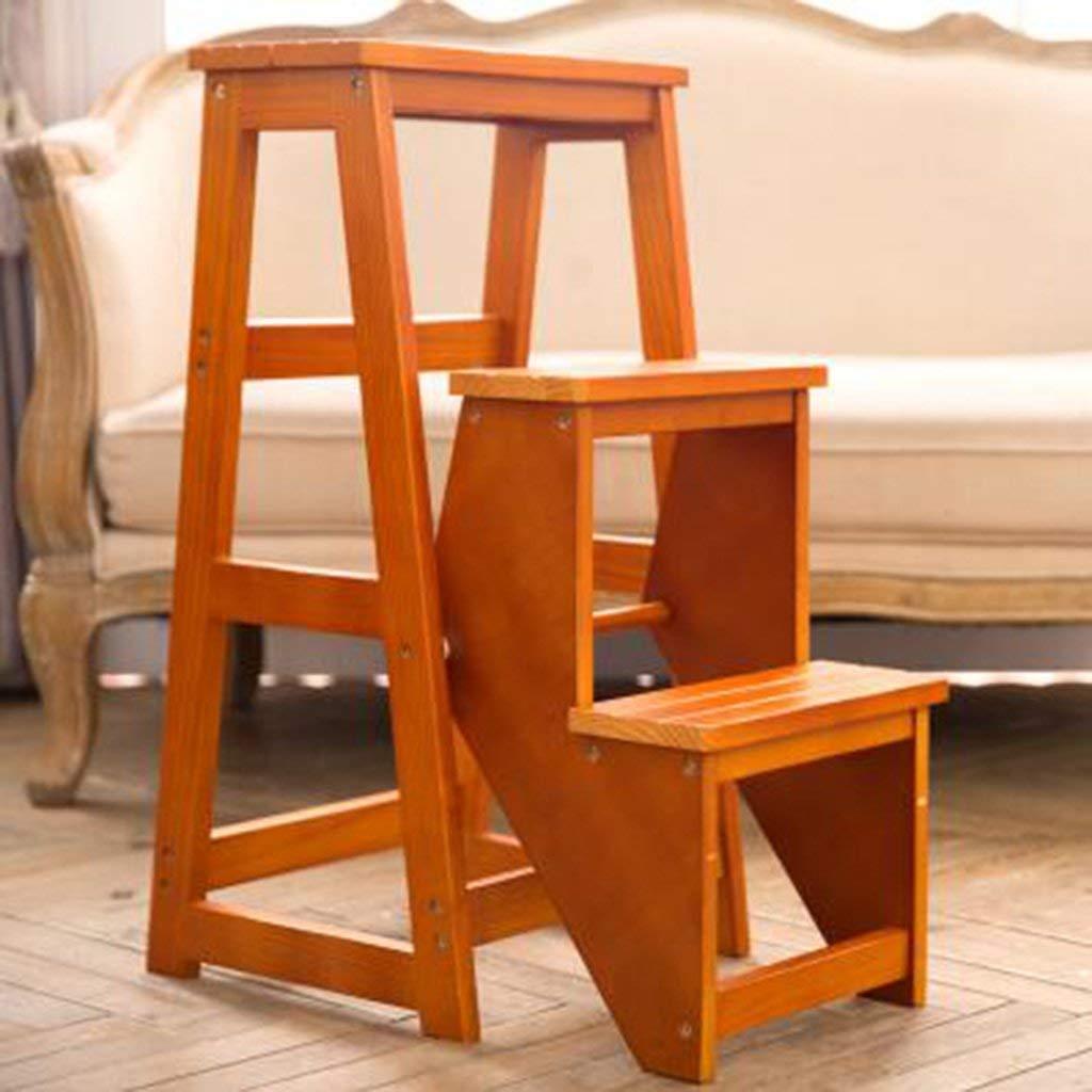 BBG#@ Paso de Heces para Adultos Plegable de Madera Maciza de 3 Capas Escalera Escalera Taburete Del Almacenaje Del Hogar Escalera / H1 / H1: Amazon.es: Bricolaje y herramientas