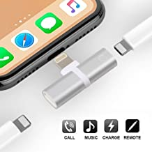 ProTVSolutions Lightning Adapter Compatible with iPhone 11/X/XR/XS/XSmax/8/7/6/6s Plus,Charging Cables Headphones Splitter Charger Adapter iPhone Headphone Jack Audio & Charge & Call & Remote Sliver