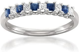 La4ve Diamonds 14k White Gold Princess-Cut Diamond & Blue Sapphire Bridal Wedding Band Ring (1/2 cttw, H-I, I1-I2)